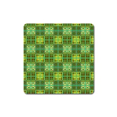 Mod Yellow Green Squares Pattern Square Magnet