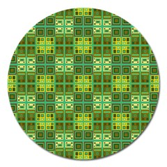 Mod Yellow Green Squares Pattern Magnet 5  (round)