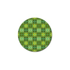 Mod Yellow Green Squares Pattern Golf Ball Marker