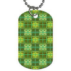 Mod Yellow Green Squares Pattern Dog Tag (two Sides) by BrightVibesDesign