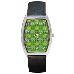 Mod Yellow Green Squares Pattern Barrel Style Metal Watch