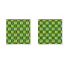 Mod Yellow Green Squares Pattern Cufflinks (square)