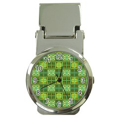 Mod Yellow Green Squares Pattern Money Clip Watches