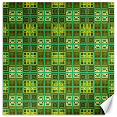 Mod Yellow Green Squares Pattern Canvas 12  X 12