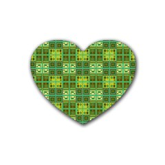 Mod Yellow Green Squares Pattern Rubber Coaster (heart)