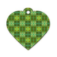 Mod Yellow Green Squares Pattern Dog Tag Heart (two Sides)
