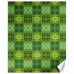 Mod Yellow Green Squares Pattern Canvas 11  X 14