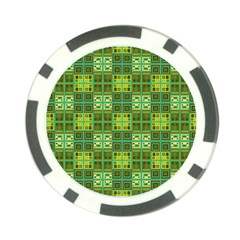 Mod Yellow Green Squares Pattern Poker Chip Card Guard by BrightVibesDesign