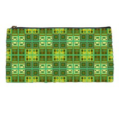 Mod Yellow Green Squares Pattern Pencil Cases by BrightVibesDesign