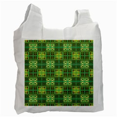 Mod Yellow Green Squares Pattern Recycle Bag (one Side) by BrightVibesDesign