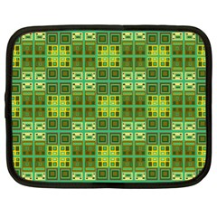 Mod Yellow Green Squares Pattern Netbook Case (xl)