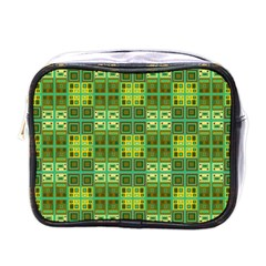 Mod Yellow Green Squares Pattern Mini Toiletries Bag (one Side)