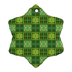 Mod Yellow Green Squares Pattern Snowflake Ornament (two Sides) by BrightVibesDesign