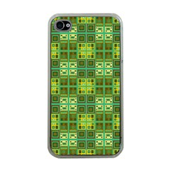 Mod Yellow Green Squares Pattern Apple Iphone 4 Case (clear)