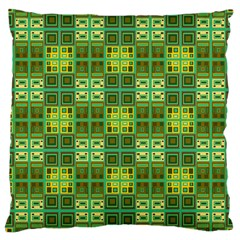 Mod Yellow Green Squares Pattern Large Cushion Case (one Side)