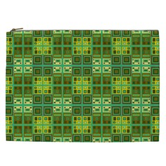 Mod Yellow Green Squares Pattern Cosmetic Bag (xxl)