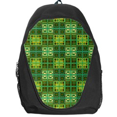 Mod Yellow Green Squares Pattern Backpack Bag
