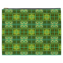 Mod Yellow Green Squares Pattern Cosmetic Bag (xxxl)