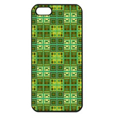 Mod Yellow Green Squares Pattern Apple Iphone 5 Seamless Case (black)