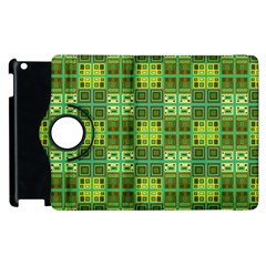 Mod Yellow Green Squares Pattern Apple Ipad 3/4 Flip 360 Case