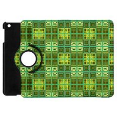 Mod Yellow Green Squares Pattern Apple Ipad Mini Flip 360 Case