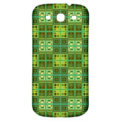 Mod Yellow Green Squares Pattern Samsung Galaxy S3 S Iii Classic Hardshell Back Case