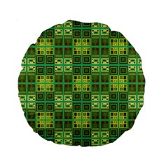Mod Yellow Green Squares Pattern Standard 15  Premium Round Cushions