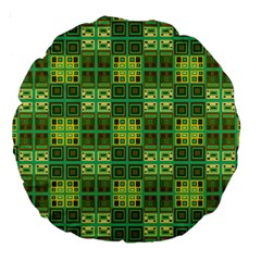 Mod Yellow Green Squares Pattern Large 18  Premium Round Cushions
