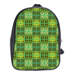 Mod Yellow Green Squares Pattern School Bag (xl)