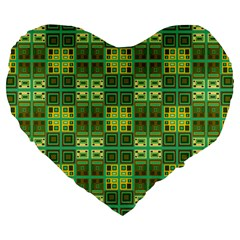 Mod Yellow Green Squares Pattern Large 19  Premium Heart Shape Cushions