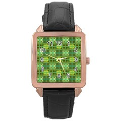 Mod Yellow Green Squares Pattern Rose Gold Leather Watch