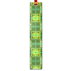 Mod Yellow Green Squares Pattern Large Book Marks