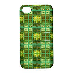 Mod Yellow Green Squares Pattern Apple Iphone 4/4s Hardshell Case With Stand