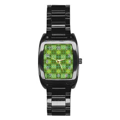 Mod Yellow Green Squares Pattern Stainless Steel Barrel Watch