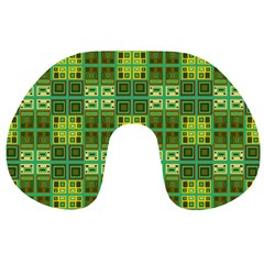 Mod Yellow Green Squares Pattern Travel Neck Pillows
