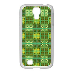 Mod Yellow Green Squares Pattern Samsung Galaxy S4 I9500/ I9505 Case (white)