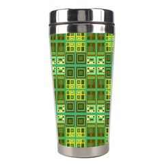 Mod Yellow Green Squares Pattern Stainless Steel Travel Tumblers