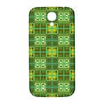 Mod Yellow Green Squares Pattern Samsung Galaxy S4 I9500/I9505  Hardshell Back Case Front