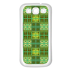 Mod Yellow Green Squares Pattern Samsung Galaxy S3 Back Case (white)