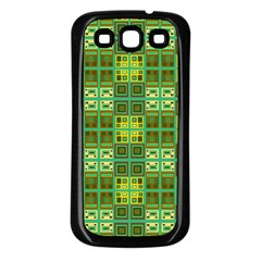 Mod Yellow Green Squares Pattern Samsung Galaxy S3 Back Case (black)