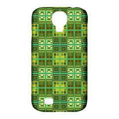 Mod Yellow Green Squares Pattern Samsung Galaxy S4 Classic Hardshell Case (pc+silicone)