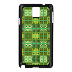 Mod Yellow Green Squares Pattern Samsung Galaxy Note 3 N9005 Case (black)
