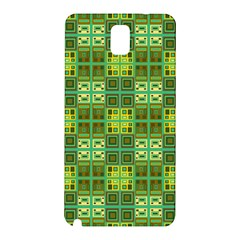 Mod Yellow Green Squares Pattern Samsung Galaxy Note 3 N9005 Hardshell Back Case