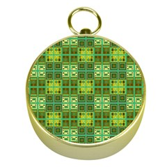 Mod Yellow Green Squares Pattern Gold Compasses