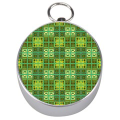 Mod Yellow Green Squares Pattern Silver Compasses