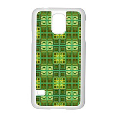 Mod Yellow Green Squares Pattern Samsung Galaxy S5 Case (white)