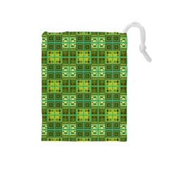 Mod Yellow Green Squares Pattern Drawstring Pouch (medium)