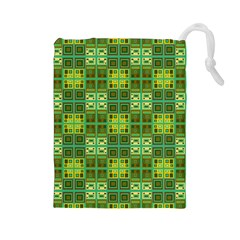 Mod Yellow Green Squares Pattern Drawstring Pouch (large)