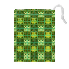 Mod Yellow Green Squares Pattern Drawstring Pouch (xl)