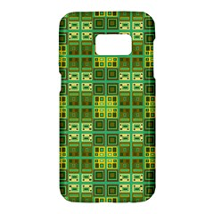 Mod Yellow Green Squares Pattern Samsung Galaxy S7 Hardshell Case